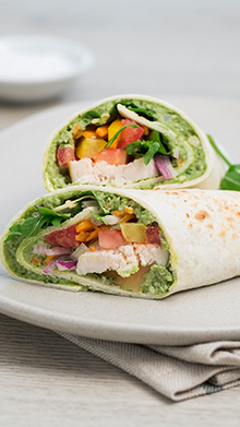 Chicken Wrap with Cashew Basil Spread (can also be used as a dip)